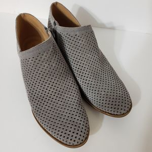 Lucky Brand Gray Perforated Booties, sz 8.5
